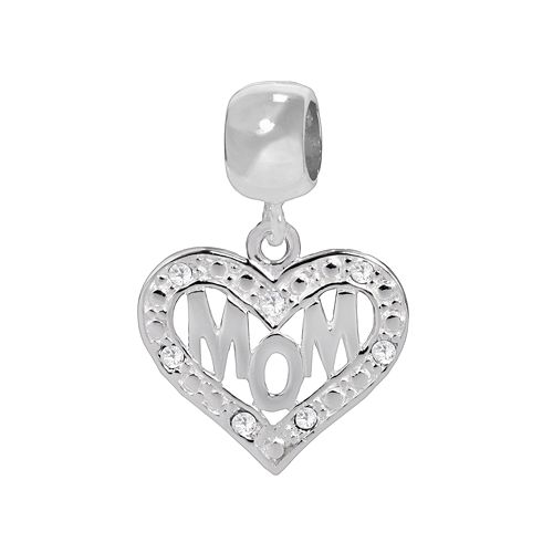 Individuality Beads Sterling Silver Crystal Openwork Mom Heart Charm