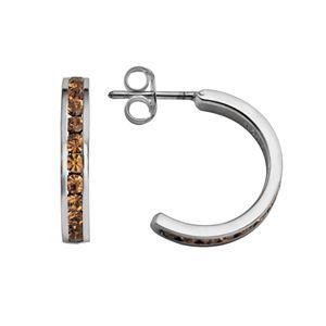 Traditions Sterling Silver Swarovski Crystal Semi-Hoop Earrings