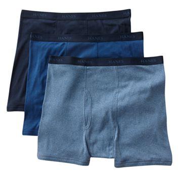 Big & Tall Hanes 3-pk. Blue Boxer Briefs