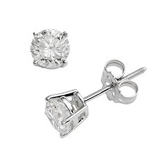 14k White Gold 1 ctT.W. IGI Certified Round Cut Diamond Solitaire Earrings