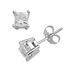 14k White Gold 1 ctT.W. IGI Certified Princess-Cut Diamond Solitaire Earrings