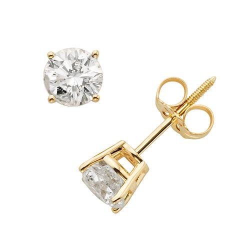 14k Gold 1-ct. T.W. IGI Certified Round-Cut Diamond Solitaire Earrings