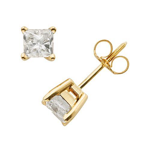 14k Gold 1-ct. T.W. IGI Certified Princess-Cut Diamond Solitaire Earrings