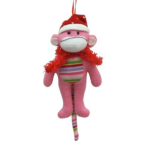 Pink Seasonal Sock Monkey Ornament
