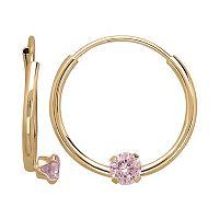 14k Gold Pink Cubic Zirconia Endless Hoop Earrings - Kids