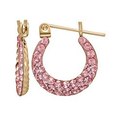 14k Gold Pink Crystal Hoop Earrings - Kids