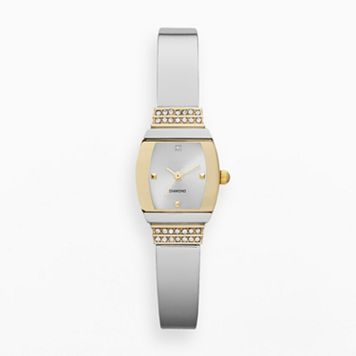 Women's Diamond Two Tone Half Bangle Watch