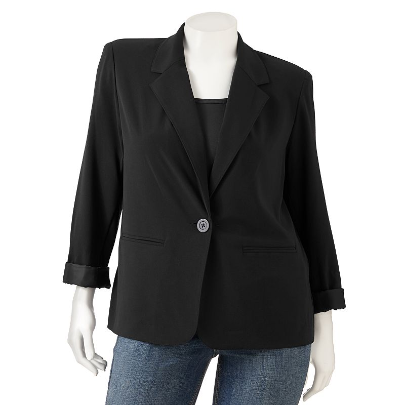 Sag Harbor Solid Blazer - Women's Plus