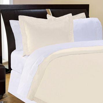 Pointehaven Solid 400-Thread Count Pima Cotton Sateen 3-pc. Ivory Duvet Cover Set - Full/Queen