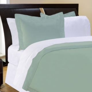 Pointehaven Solid 400-Thread Count Pima Cotton Sateen 3-pc. Sage Duvet Cover Set - Full/Queen