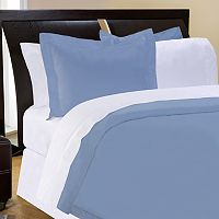 Pointehaven Solid 400-Thread Count Pima Cotton Sateen 3-pc. Blue Duvet Cover Set - Full/Queen