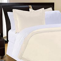Pointehaven Solid 500-Thread Count Cotton Sateen 3 pc Ivory Duvet Cover Set - Full/Queen