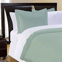 Pointehaven Solid 500-Thread Count Cotton Sateen 3-pc. Sage Duvet Cover Set - Full/Queen