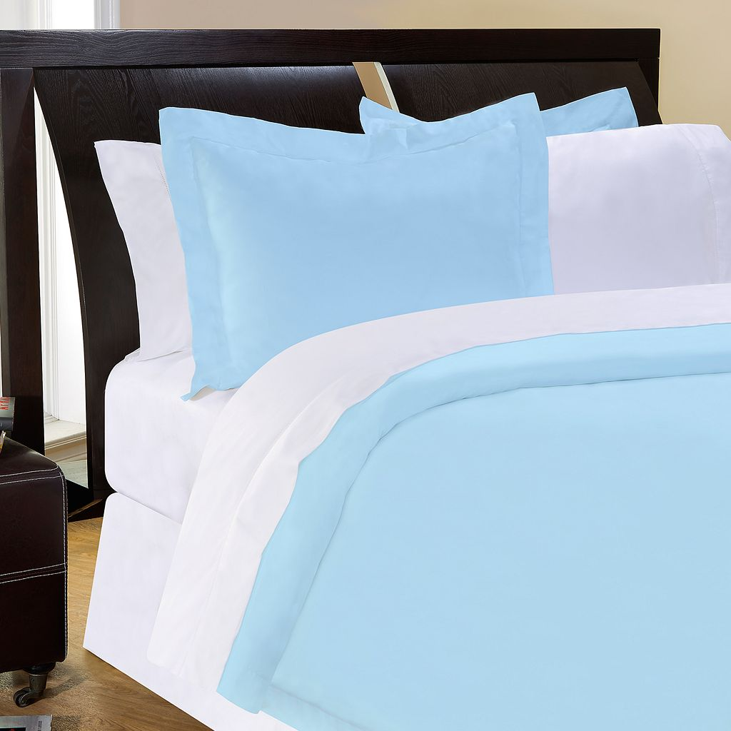 Pointehaven Solid 500-Thread Count Cotton Sateen Blue 3-pc. Duvet Cover Set - King
