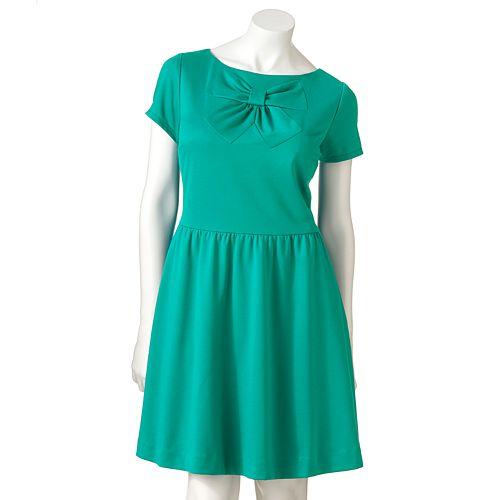 LC Lauren Conrad Bow Fit & Flare Ponte Dress - Women's