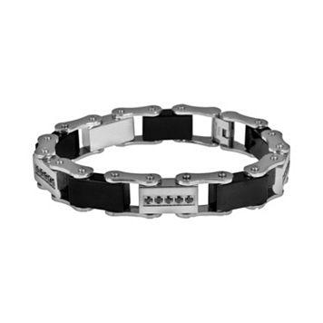 Stainless Steel & Black Immersion-Plated Stainless Steel 1/2-ct. T.W. Black Diamond Bracelet - Men