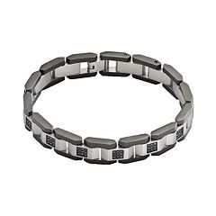 Stainless Steel & Black Rhodium-Plated Stainless Steel 1/2 ctT.W. Black Diamond Bracelet - Men
