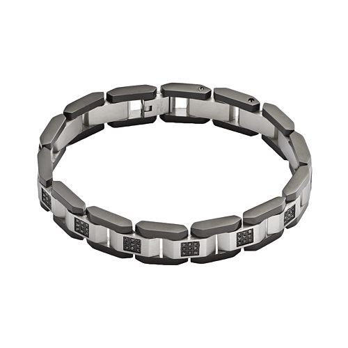 Stainless Steel & Black Rhodium-Plated Stainless Steel 1/2-ct. T.W. Black Diamond Bracelet - Men
