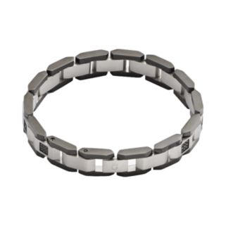 Stainless Steel and Black Rhodium-Plated Stainless Steel 1/2-ct. T.W. Black Diamond Bracelet - Men