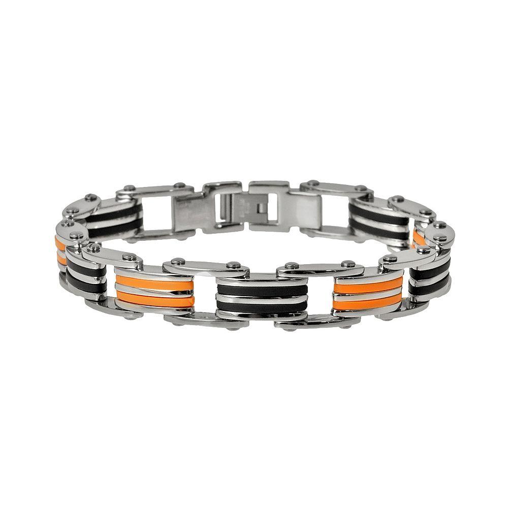 Stainless Steel, & Black & Orange Rubber Bracelet - Men