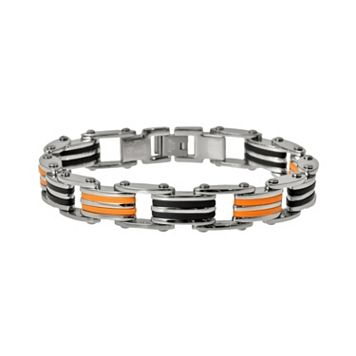 Stainless Steel, & Black & Orange Rubber Bracelet - Men