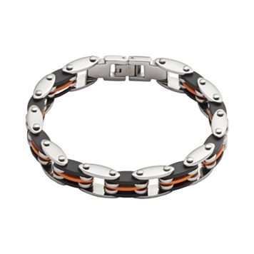 Stainless Steel & Black & Orange Rubber Bracelet - Men