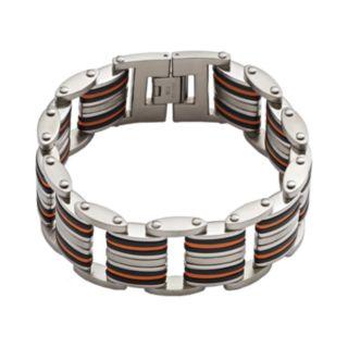 Stainless Steel and Black and Orange Rubber Bracelet - Men