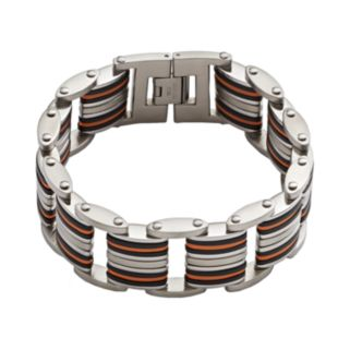 Stainless Steel and Black and Orange Rubber Bracelet - Men