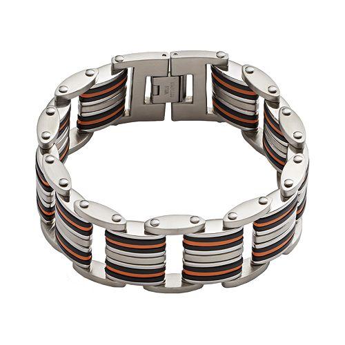 Stainless Steel & Black & Orange Rubber Bracelet - Men