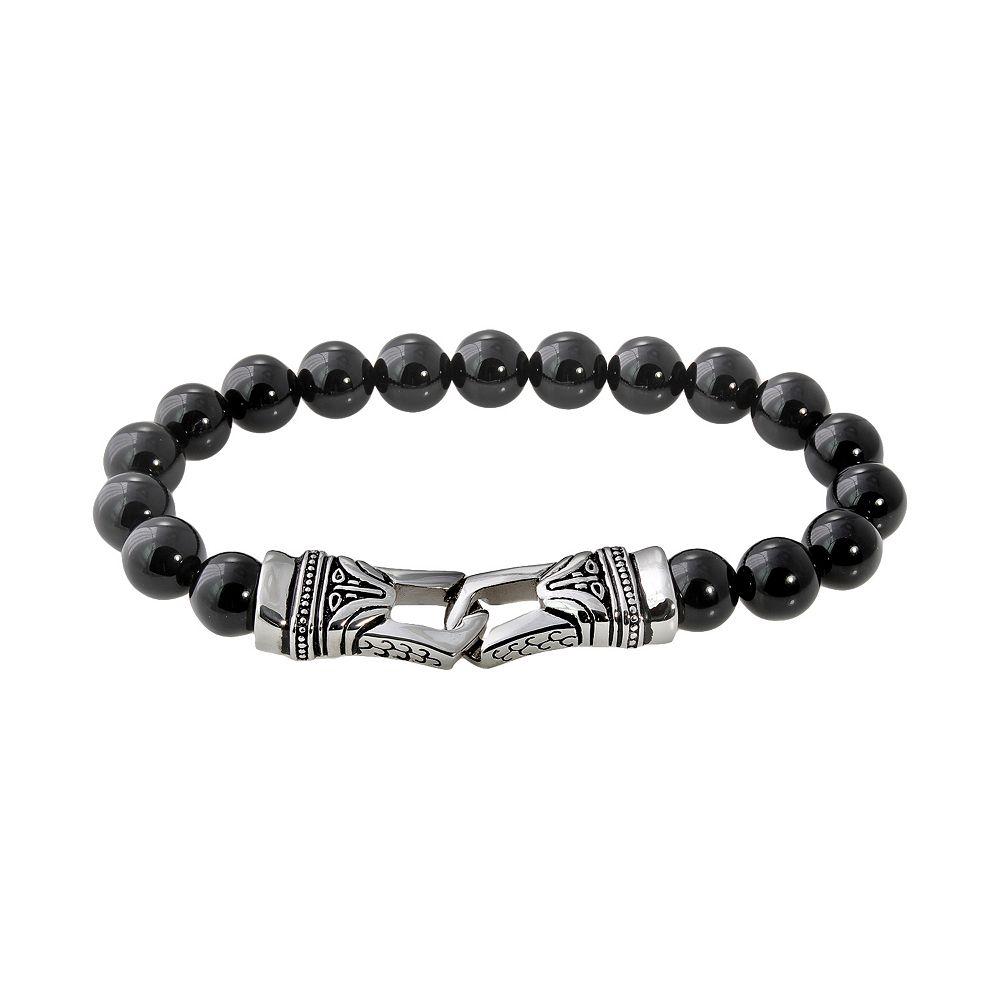 Stainless Steel Onyx Bead Stretch Bracelet - Men