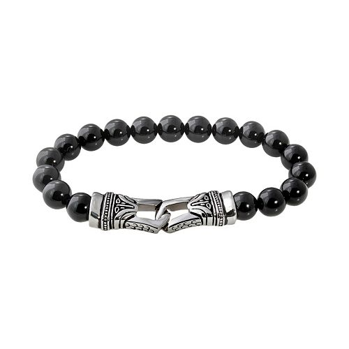 Stainless Steel Onyx Bead Stretch Bracelet - Men