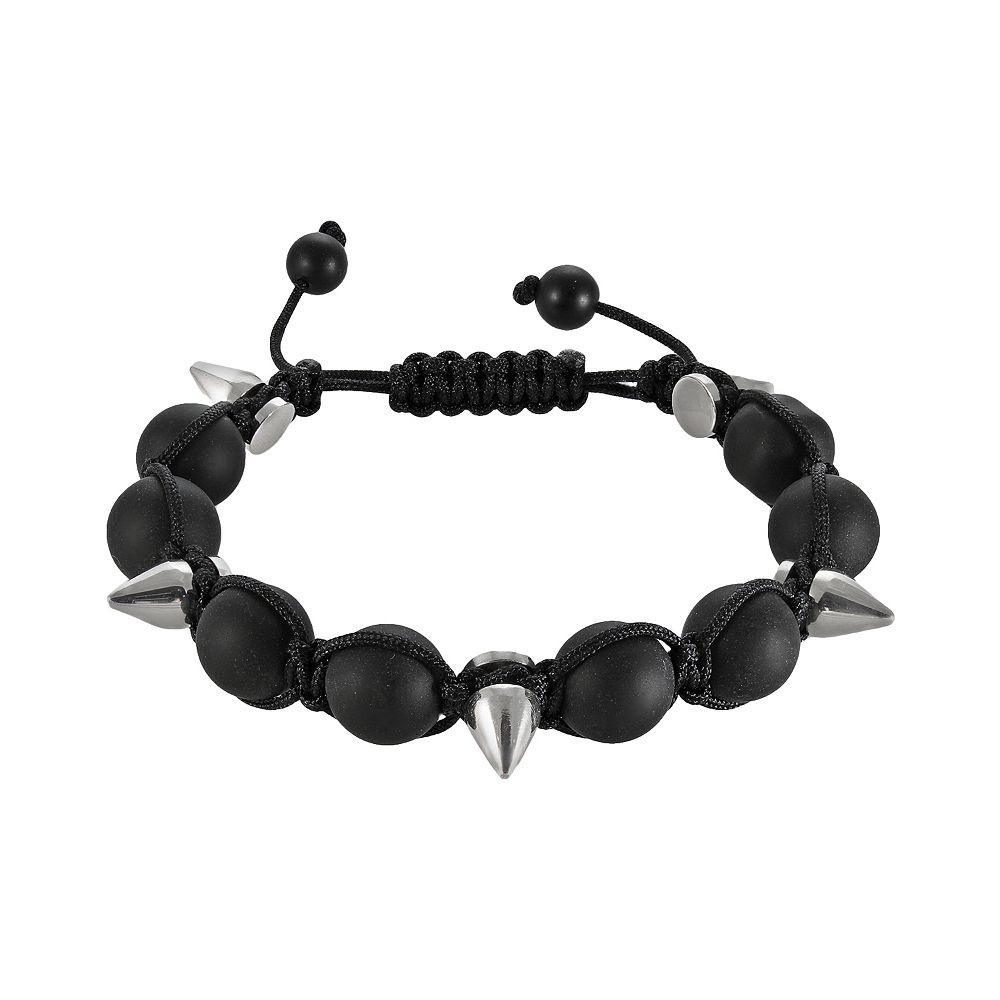 Stainless Steel Hematite Bead Slipknot Bracelet - Men