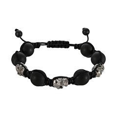 Stainless Steel Hematite Bead Skull Slipknot Bracelet - Men