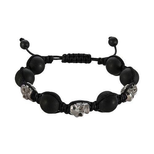 Stainless Steel Hematite Bead Skull Slipknot Bracelet - Men