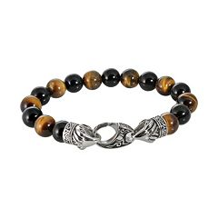 Stainless Steel Tiger's Eye Bead Stretch Bracelet - Men