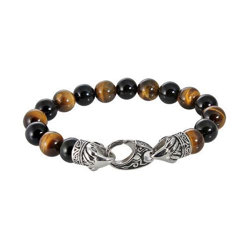 Stainless Steel Tiger's Eye Bead Stretch Bracelet - Men