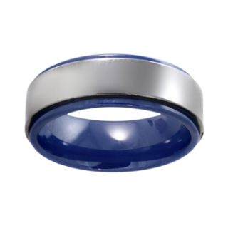 Stainless Steel and Blue Ceramic Band - Men
