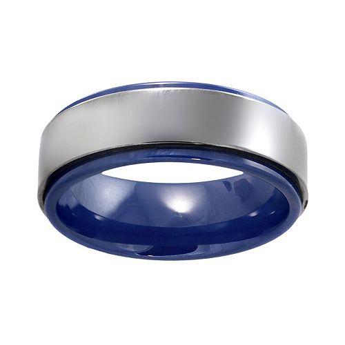 Stainless Steel & Blue Ceramic Band - Men