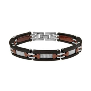 Black and Brown Ceramic and Stainless Steel Bracelet - Men