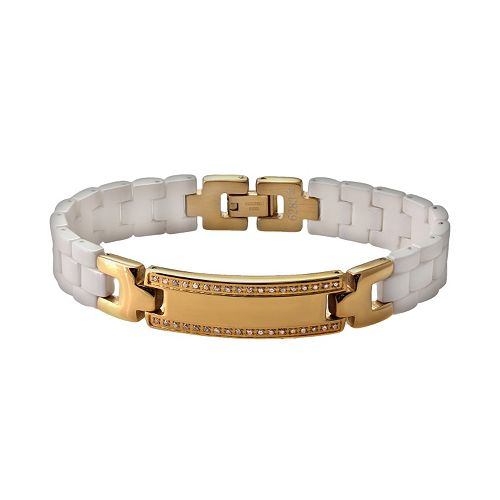 Yellow Immersion-Plated Stainless Steel & White Ceramic Cubic Zirconia ID Bracelet - Men