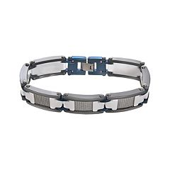 Stainless Steel, Blue Immersion-Plated Stainless Steel, & White & Black Ceramic Bracelet - Men