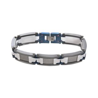 Stainless Steel, Blue Immersion-Plated Stainless Steel, and White and Black Ceramic Bracelet - Men