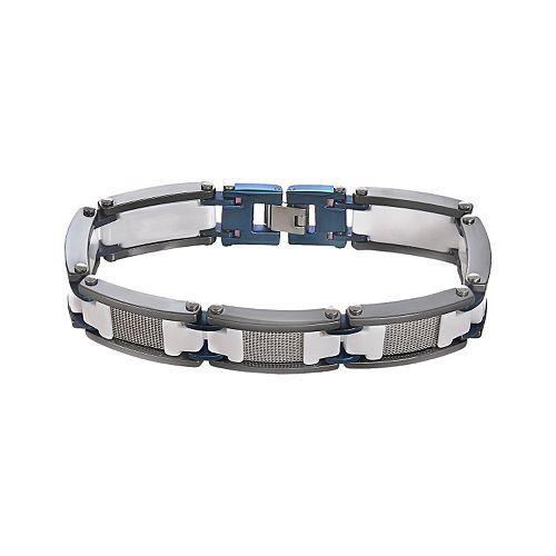 Stainless Steel, Blue Immersion-Plated Stainless Steel, & White & Black Ceramic Bracelet - Men