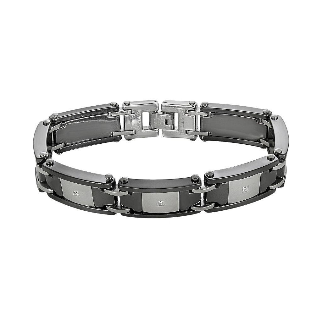 Stainless Steel & Black Ceramic 1/10-ct. T.W. Diamond Bracelet - Men