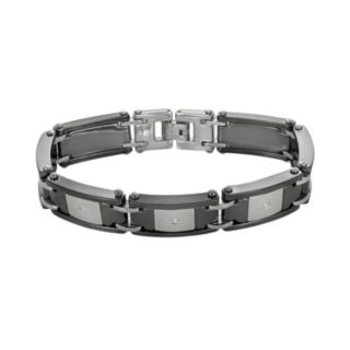 Stainless Steel and Black Ceramic 1/10-ct. T.W. Diamond Bracelet - Men