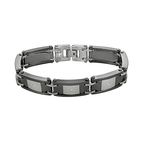 Stainless Steel & Black Ceramic 1/10-ct. T.W. Diamond Bracelet - Men