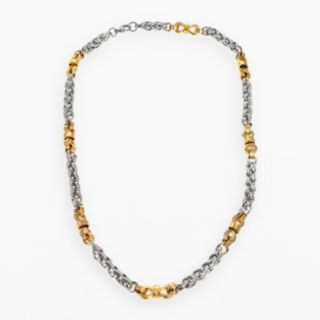 Stainless Steel and Yellow Immersion-Plated Stainless Steel Necklace - Men