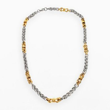 Stainless Steel & Yellow Immersion-Plated Stainless Steel Necklace - Men