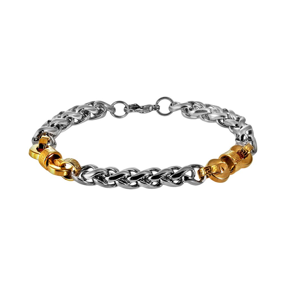 Stainless Steel & Yellow Immersion-Plated Stainless Steel Bracelet - Men