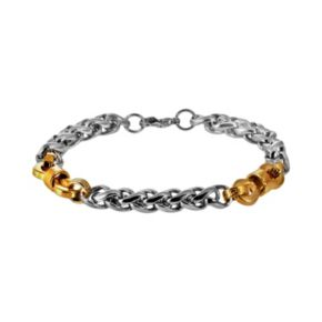 Stainless Steel and Yellow Immersion-Plated Stainless Steel Bracelet - Men
